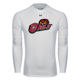 Under Armour White Long Sleeve Tech Tee-Owls w/Owl Head