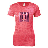 Next Level Ladies Junior Fit Fuchsia Burnout Tee-Box T Foil