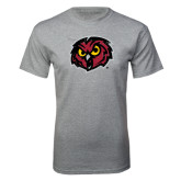 Grey T Shirt-Owl Head Distressed