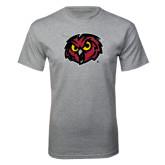 Grey T Shirt-Owl Head Distressed