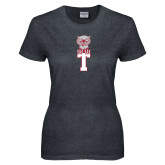 Ladies Dark Heather T Shirt-Vintage Owl Atop T