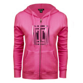 ENZA Ladies Fuchsia Fleece Full Zip Hoodie-Box T Foil