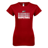 Next Level Ladies SoftStyle Junior Fitted Cardinal Tee-Temple University Basketball Repeating