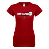 Next Level Ladies SoftStyle Junior Fitted Cardinal Tee-Temple Owls Volleyball w/Flying Ball