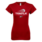 Next Level Ladies SoftStyle Junior Fitted Cardinal Tee-Temple Lacrosse Modern