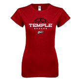 Next Level Ladies SoftStyle Junior Fitted Cardinal Tee-Temple Soccer Half Ball