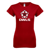 Next Level Ladies SoftStyle Junior Fitted Cardinal Tee-Owls Soccer Geometric Ball