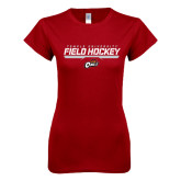 Next Level Ladies SoftStyle Junior Fitted Cardinal Tee-Temple University Field Hockey Stencil