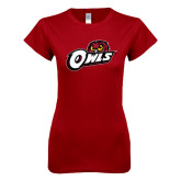 Next Level Ladies SoftStyle Junior Fitted Cardinal Tee-Owls w/Owl Head
