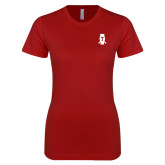 Next Level Ladies SoftStyle Junior Fitted Cardinal Tee-Perched Owl T