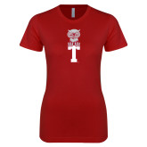 Next Level Ladies SoftStyle Junior Fitted Cardinal Tee-Vintage Owl Atop T