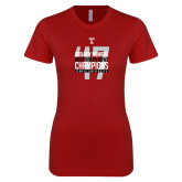 Next Level Ladies SoftStyle Junior Fitted Cardinal Tee-Bad Boy Mowers Gasparilla Bowl Champions - Year