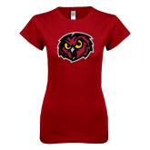 Next Level Ladies SoftStyle Junior Fitted Cardinal Tee-Owl Head