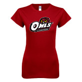 Next Level Ladies SoftStyle Junior Fitted Cardinal Tee-Lacrosse
