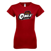 Next Level Ladies SoftStyle Junior Fitted Cardinal Tee-Soccer