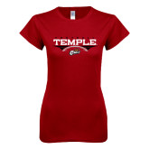 Next Level Ladies SoftStyle Junior Fitted Cardinal Tee-Temple Football Over Football