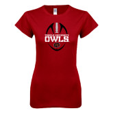 Next Level Ladies SoftStyle Junior Fitted Cardinal Tee-Temple University Owls Football Vertical