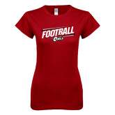 Next Level Ladies SoftStyle Junior Fitted Cardinal Tee-Football Slanted