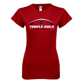 Next Level Ladies SoftStyle Junior Fitted Cardinal Tee-Temple Owls Football Under Ball