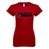 Next Level Ladies SoftStyle Junior Fitted Cardinal Tee-Temple Football Stacked w/Bar