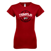 Next Level Ladies SoftStyle Junior Fitted Cardinal Tee-Temple Basketball Arched w/Ball