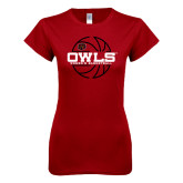Next Level Ladies SoftStyle Junior Fitted Cardinal Tee-Owls Womens Basketball w/Lined Ball
