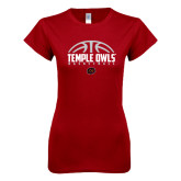Next Level Ladies SoftStyle Junior Fitted Cardinal Tee-Temple Owls Basketball Half Ball
