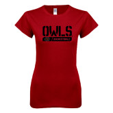 Next Level Ladies SoftStyle Junior Fitted Cardinal Tee-Owls Basketball Stencil w/Bar