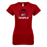 Next Level Ladies SoftStyle Junior Fitted Cardinal Tee-Temple Basketball Stacked w/Contours