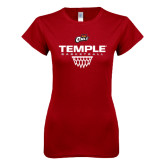 Next Level Ladies SoftStyle Junior Fitted Cardinal Tee-Temple Basketball Stacked w/Net Icon
