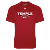 Under Armour Cardinal Tech Tee-Temple Football Over Football