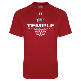 Under Armour Cardinal Tech Tee-Temple Basketball Stacked w/Net Icon