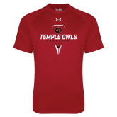 Under Armour Cardinal Tech Tee-Temple Owls Lacrosse w/Lacrosse Stick