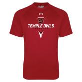 Under Armour Cardinal Tech Tee-Temple Owls Lacrosse w/Lacrosse Stick