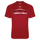 Under Armour Cardinal Tech Tee-Temple Owls Football Under Ball