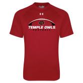 Under Armour Cardinal Tech Tee-Temple Owls Football Under Ball