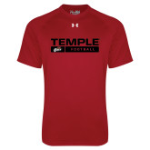 Under Armour Cardinal Tech Tee-Temple Football Stacked w/Bar