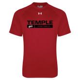 Under Armour Cardinal Tech Tee-Temple Football Stacked w/Bar