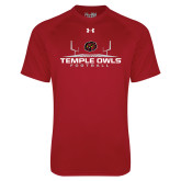 Under Armour Cardinal Tech Tee-Temple Owls Football w/Field