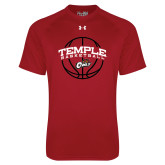 Under Armour Cardinal Tech Tee-Temple Basketball Arched w/Ball
