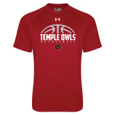 Under Armour Cardinal Tech Tee-Temple Owls Basketball Half Ball