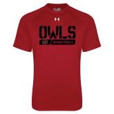 Under Armour Cardinal Tech Tee-Owls Basketball Stencil w/Bar