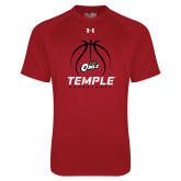 Under Armour Cardinal Tech Tee-Temple Basketball Stacked w/Contours