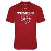 Under Armour Cardinal Tech Tee-Temple Volleyball Stacked