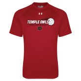 Under Armour Cardinal Tech Tee-Temple Owls Volleyball w/Flying Ball