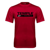 Syntrel Performance Cardinal Tee-Temple Football Stacked w/Bar
