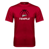 Syntrel Performance Cardinal Tee-Temple Basketball Stacked w/Contours