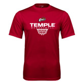 Syntrel Performance Cardinal Tee-Temple Basketball Stacked w/Net Icon