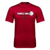 Performance Cardinal Tee-Temple Owls Volleyball w/Flying Ball