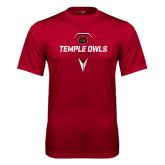 Performance Cardinal Tee-Temple Owls Lacrosse w/Lacrosse Stick